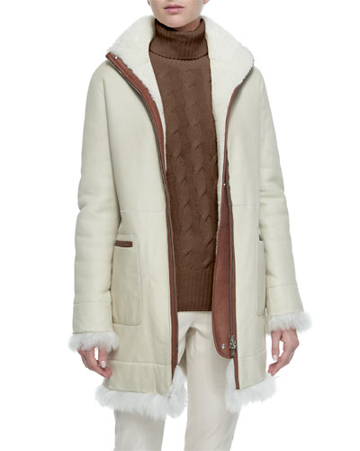 Jay Shearling Fur Funnel-Collar Coat