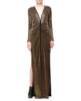 Allover Beaded Column Gown