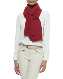 Sequined Fringe-Trim Cashmere-Blend Scarf, Scintilla Red