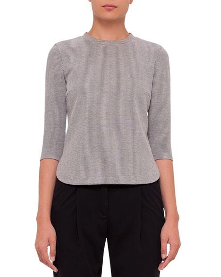 Boxy 3/4-Sleeve Jersey Top, Black/Cream