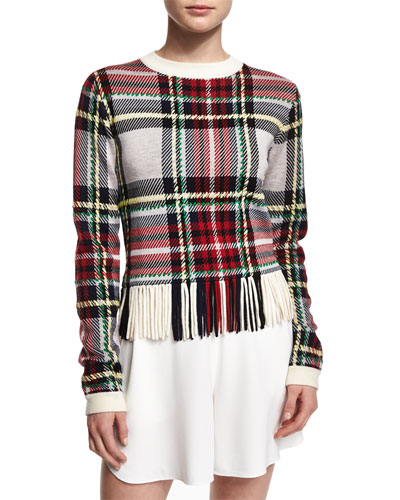 Plaid Jacquard Fringe-Trimmed Sweatshirt