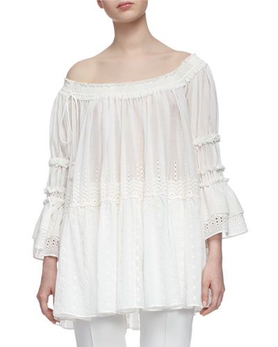 Off-The-Shoulder Eyelet Peasant Top