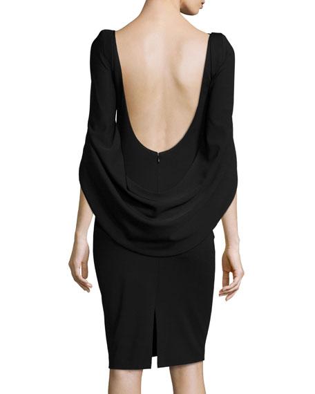 Konica Cowl-Back Ruched Cocktail Dress, Black
