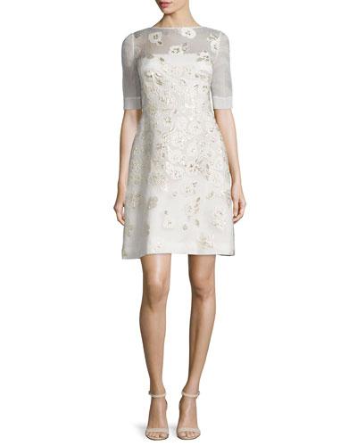 Stamped-Floral A-Line Dress, Black