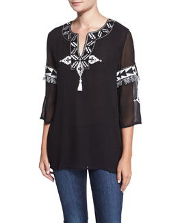 Embroidered Silk Georgette Tunic, Black