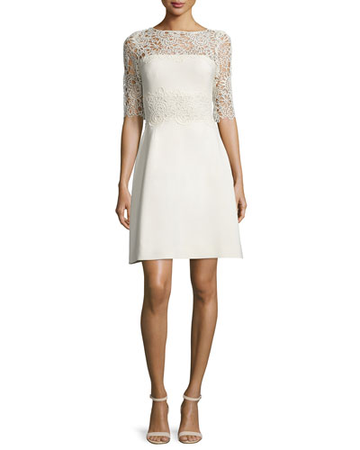 Floral-Lace Half-Sleeve A-Line Dress, Ivory