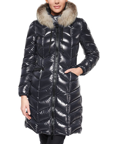 Bellete Fur-Trimmed Chevron-Quilted Puffer Coat, Navy