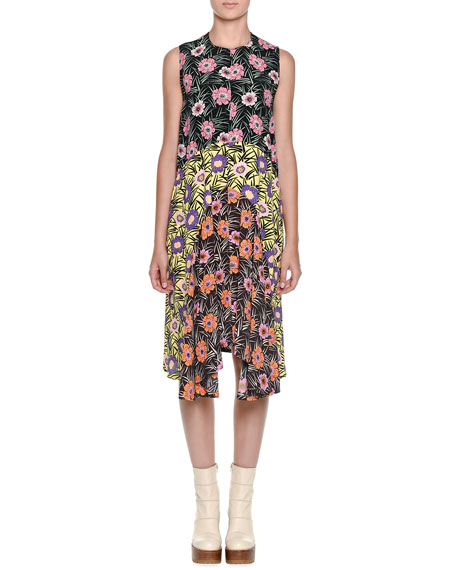 Floral-Print Asymmetric Ruffle-Hem Dress