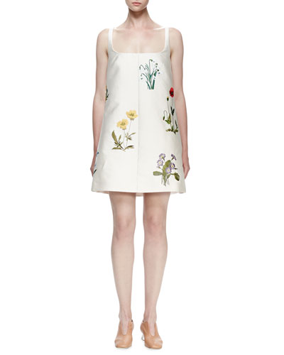 Square-Neck Floral-Embroidered Mini Dress, Ivory
