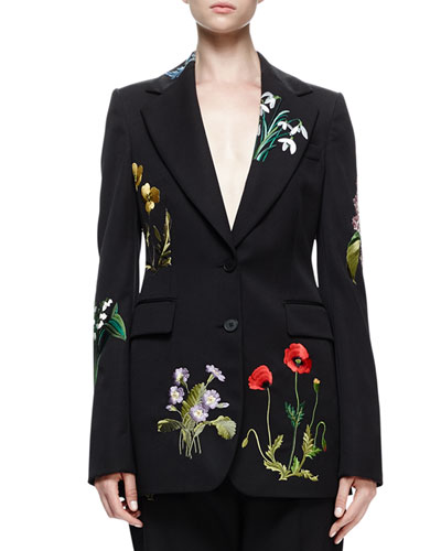 Floral-Embroidered Tuxedo Jacket, Black