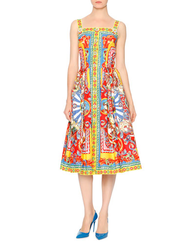Sleeveless Carretto-Print Dress, Red/Yellow/Blue