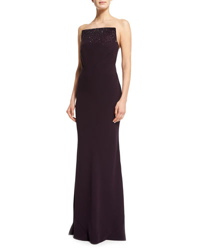 Squared Strapless Silk Cady Gown, Purple