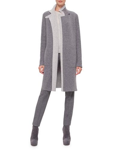 Reversible Contrast-Trimmed Cashmere Coat
