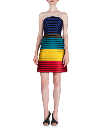 Rainbow-Tape Strapless A-Line Dress