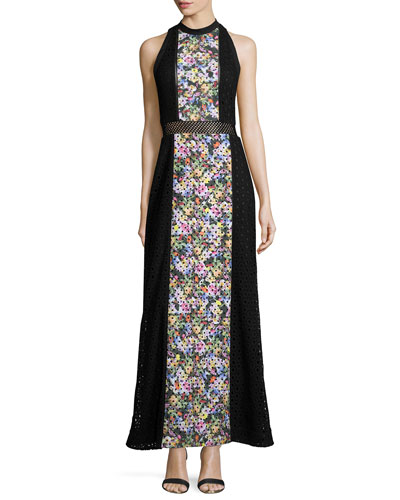 Paneled Floral-Print Maxi Dress, Black