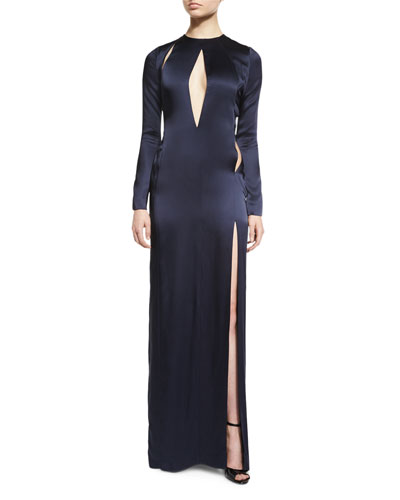 Long-Sleeve Satin Keyhole Gown, Ink (Dark Blue)