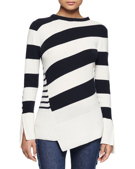 Asymmetric Striped Crewneck Sweater, Navy/White