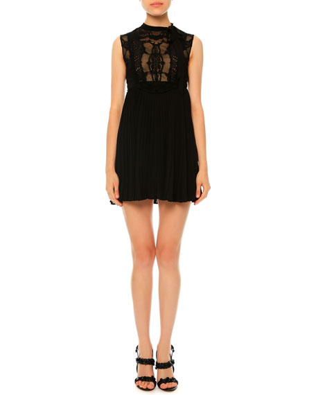 Sleeveless Macrame Babydoll Dress, Black