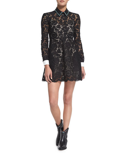 Long-Sleeve Shirt-Cuff Lace Dress, Black/White