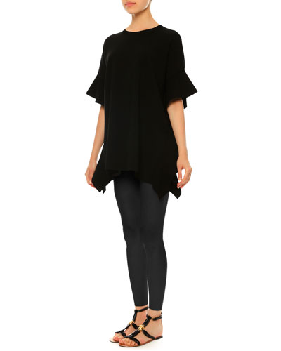 Ruffled Knit Trapeze Poncho, Black