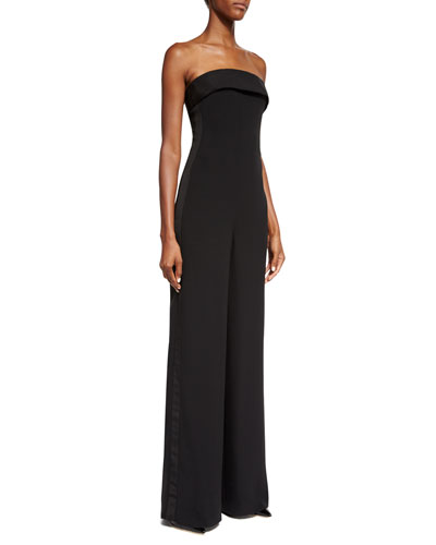 Tuxedo-Striped Strapless Silk Cady Jumpsuit, Black