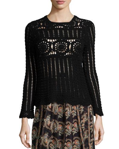 Heloise Crocheted Long-Sleeve Sweater