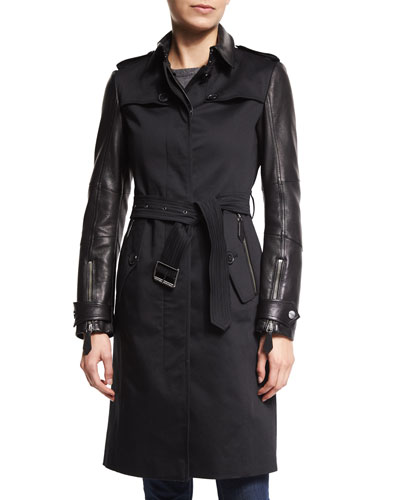 Earsdale Leather-Sleeve Trenchcoat, Black