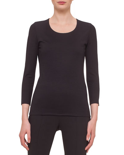 Fitted 3/4-Sleeve Stretch-Jersey Top, Black