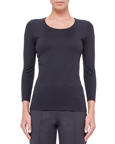 Fitted 3/4-Sleeve Stretch-Jersey Top, Navy