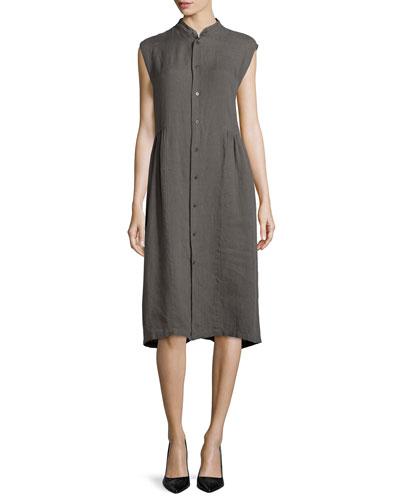 Sleeveless Handkerchief Linen Shirtdress, Elephant