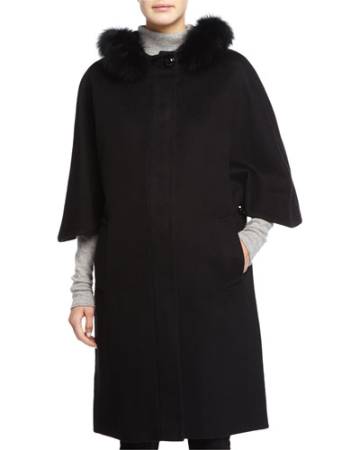 Fur-Trimmed Wool Cape, Black