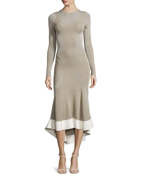 Long-Sleeve Paneled V-Neck Midi Dress, Sand