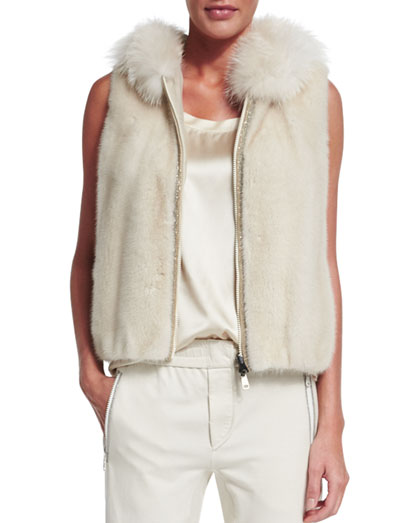 Hooded Mink Fur Vest, Vanilla