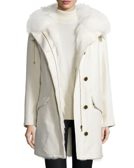 Fur-Trimmed Cashmere Parka Jacket, White
