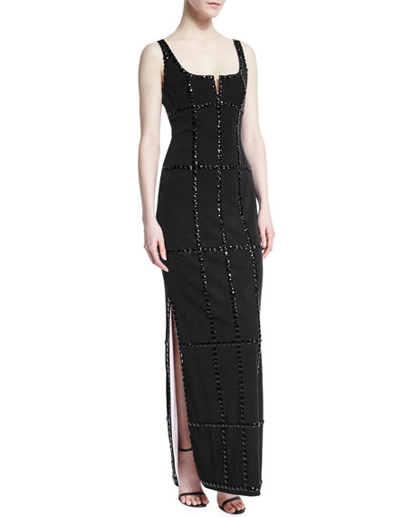 Sleeveless Jeweled-Windowpane Gown