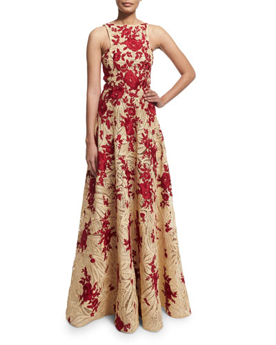Racer-Neck Embroidered Raffia Ball Gown, Natural/Red