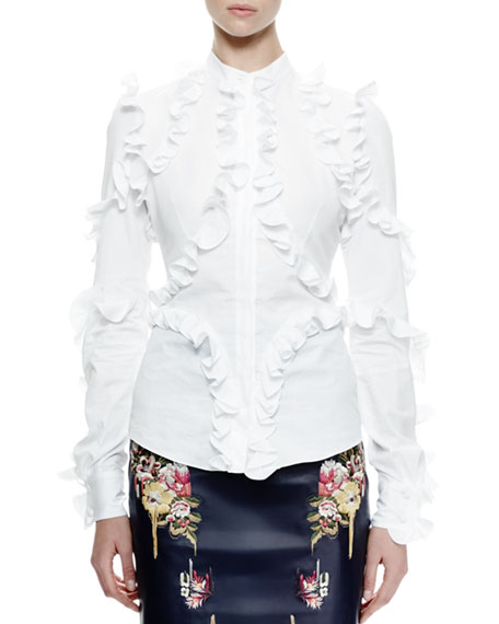 6759e70e7ea4 Alexander McQueen Ruffled Long-Sleeve Poplin Blouse, White