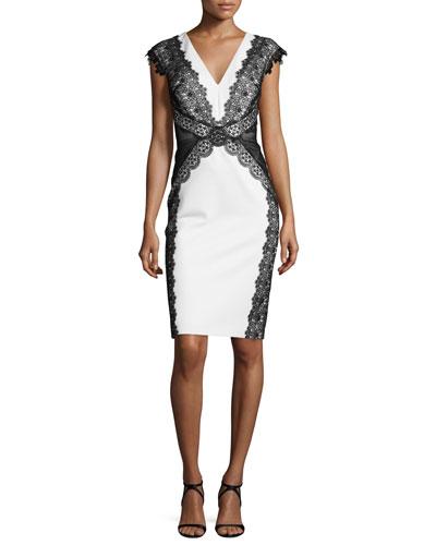 Cap-Sleeve V-Neck Lace-Panel Sheath Dress, Oyster/Almond