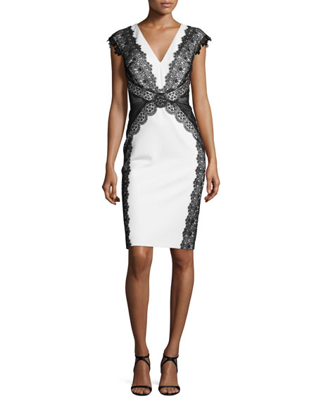 Cap-Sleeve V-Neck Lace-Panel Sheath Dress, Oyster/Almond