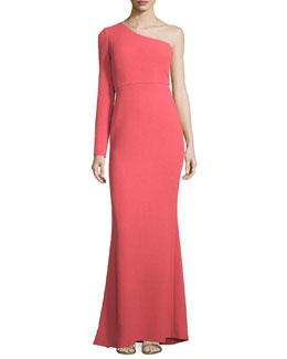 Carmen One-Sleeve Wool Column Gown, Hibiscus