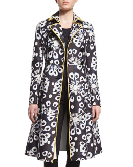 Tie-Dye Leather Trench Coat, Ink