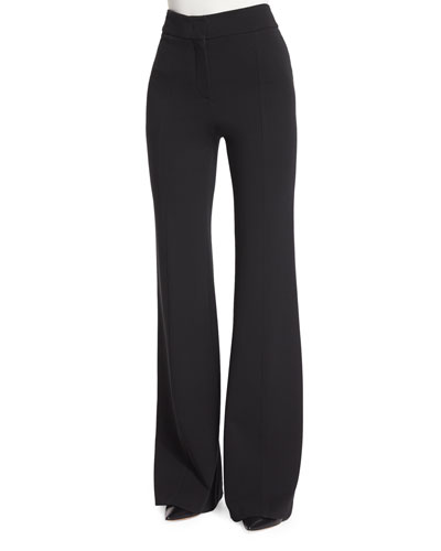 Georgia Crepe Flare-Leg Pants  Black