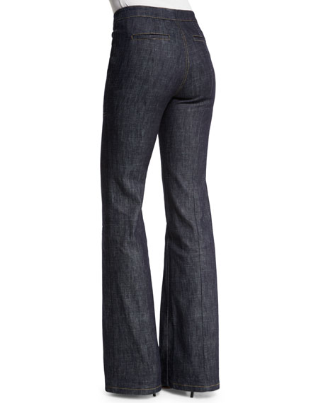High-Waist Wide-Leg Denim Trousers, Indigo