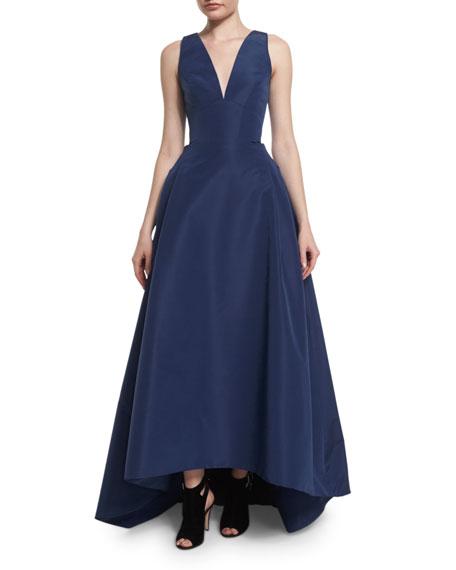 Sleeveless High-Low Faille Ball Gown, Navy