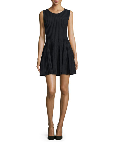 Sleeveless Ribbed Fit-and-Flare Dress, Black