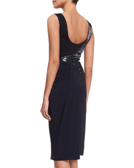 Draped Sleeveless Cocktail Dress w/Beading, Midnight