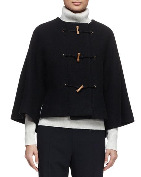 Toggle-Front Wool-Blend Cape Jacket, Black
