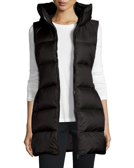 659122034 Glykeria Long Hooded Puffer Vest Black