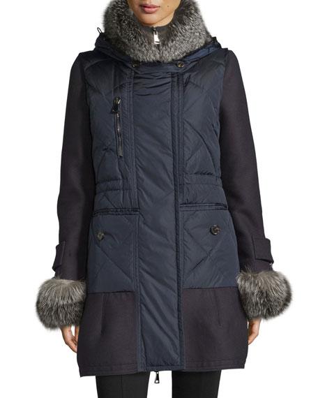 Elestoria Two-Piece Puffer Coat w/Fur Trim, Navy