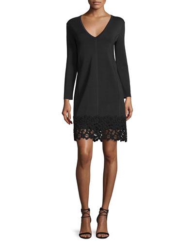 Long-Sleeve Lace-Hem Knit Dress, Black
